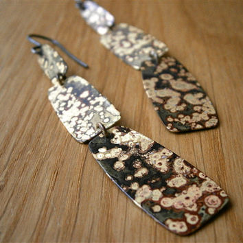 Jaguar Print - Brass Long Earrings - Modern Tribal Earrings - Mixed Metal - Handmade Metalwork