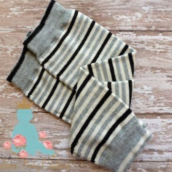 Black White Grey Striped baby leg warmers. Great for babies, toddlers, and young kids