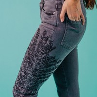 Embroidered Girlfriend Jean in Grey - cladandcloth