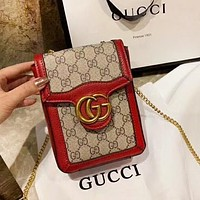 GUCCI New fashion more letter leather shoulder bag Red