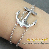 Bracelet---Antique Silver Little Anchor Bracelet &Alloy Chain MB728