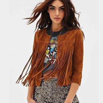 Women's Slim Fringed Leather Long Sleeve Jacket