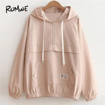 ROMWE Drop Shoulder Kangaroo Pocket Anorak Jacket Zipper Sporty Hooded Plain Women Coat 2018 Spring Fall Casual Jacket
