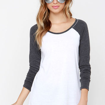 The Big Hit Charcoal Grey and Ivory Top