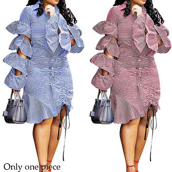 New Layered Lotus Leaf Side Sleeve Tie-pull Down Stripe Dress for Women Only one piece