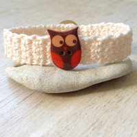 Crocheted Owl Bracelet, Orange and Brown, for Pre-Teens to Adults