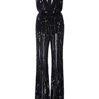 Sleeveless Flare Embroidered Jumpsuit With Deep V-Neck | Moda Operandi