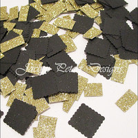 Party Confetti, Black And Gold Glitter, Double Sided, Table Scatter, Wedding Decoration, Bridal Shower Supply, Birthday, Sweet 16, 200 Piece