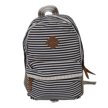 Striped Canvas Lace Shoulder Backpack