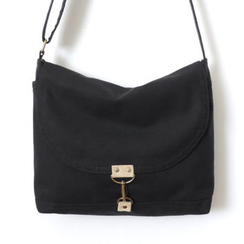 Canvas Messenger Bag Satchel Crossbody Bag Black