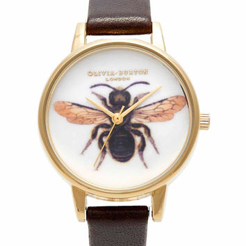 Olivia Burton Woodland Bee Watch - Chocolate & Gold in To-Be-Confirmed