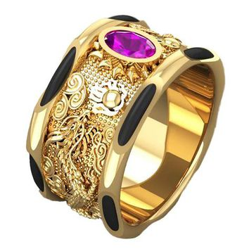 Solid Gold Dragon Ring Men's Elephant Hair Ring Amethyst Mens Ring Wide Gold Band Ring