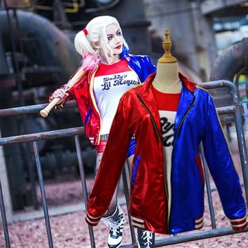 New Batman Suicide Squad Harley Quinn Cosplay Costume Clothing Women Arkham Asylum City Joker Movie Halloween Anime Top Jacket