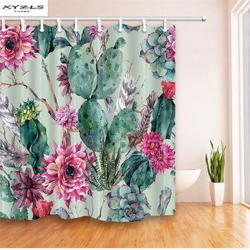 XYZLS Green Plant Cactus Flower Shower Curtain Waterproof Mildewproof Polyester Curtain for Bathroom 180x180cm Bathroom Products