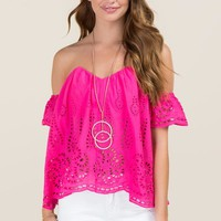 Maisy Embroidered Scallop Hem Off The Shoulder Bustier Top