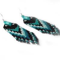 Native American Style Beaded Earrings - Mint, Teal, White, Black