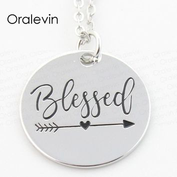 BLESSED Inspirational Motivational Engraved Charms Necklace Sold By GO FIND YOURSELF
