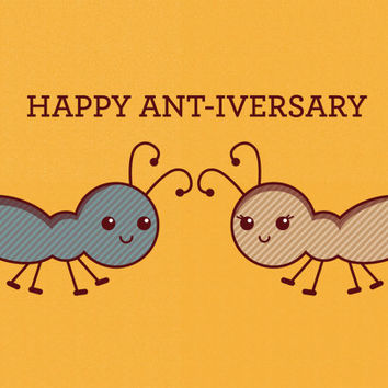 Happy Ant Iversary Card   Funny Cute Anniversary Card   Ants Bugs Animal  Pun