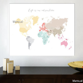 "30x24"" Printable world map, diy travel pinboard map, pastels world map, pastel wall art, nursery map, pastels nursery - map026 A"