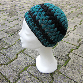 Teal beanie, women hat crochet,green girls beanie, petrol blue hat, beanie unisex,teal black women hat,teal winter beanie, winter women hat