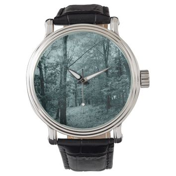 Vintage Watch With Forest Faceplate