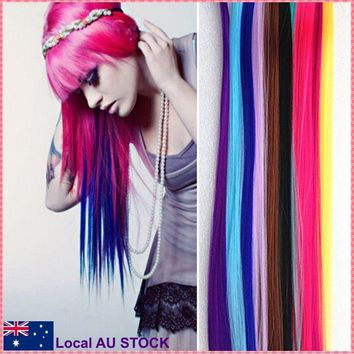 Fashion hair extension Long Synthetic Straight Hairpiece Party Punk hair pieces