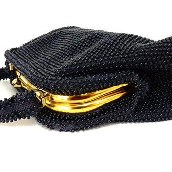 Vintage 50s Beaded Purse Lumured Corde Bead Black Gold Frame Formal Evening Bridal Purse Wedding
