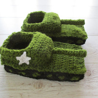 Crochet tank slippers, tank shoes, sherman tank slippers, gift for men, boyfriend gift, college student gift, best friend