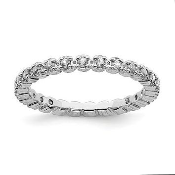 Sterling Silver Stackable Expressions White Topaz Eternity Ring