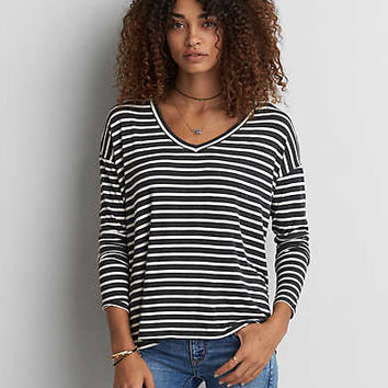 AEO Soft & Sexy Drop Shoulder T-Shirt , Charcoal Heather