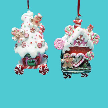 6 Christmas Ornaments - Ice Cream Gingerbread House