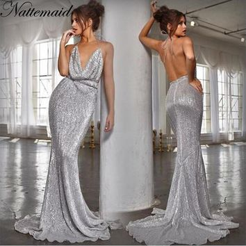 NATTEMAID Mermaid Trumpet Halter Bandage Dress V Neck Backless Off Shoulder Sexy Dress Women Elegant Party Vestidos 2018 Summer