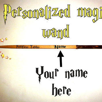 13 Inch Personalized Magic Wand - Harry Potter Wand. Petrificus Totalus Spelling Magic Wand. Custom Name Magic Wand. Printed Name Magic Wand