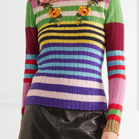 Gucci - Appliquéd striped wool and cashmere-blend sweater