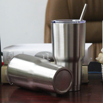 USA hot double wall stainless steel 18/8 cold/hot tumbler with straw,30oz yeti rambler cup,insulated ice cooler vacuum mug