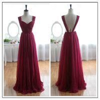2014 New Design Sexy Hollowed sides Open Back Floor Length Prom Dresses Evening Dresses/Long Pleated Gown/Custom Colour/Custom Size A085