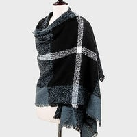 Plaid Blanket Scarf Wrap Gray