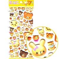 Muffin Bread Shaped Bear and Panda Animal Shaped Puffy Stickers for Scrapbooking