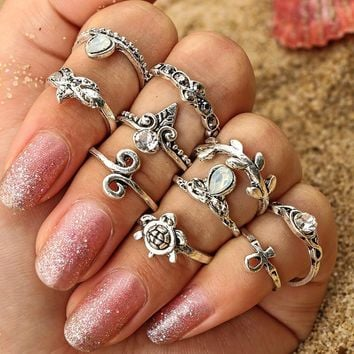 Cross Rack Ring Sea Crown Leaf Vintage Set [11762570831]