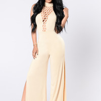 Shabby Chic Jumpsuit - Nude