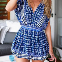 Tribal Print Cut-Out V-Neck Romper