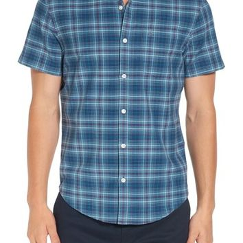 Original Penguin Trim Fit Short Sleeve Plaid Oxford Shirt | Nordstrom