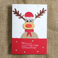 Rudolph Christmas Card - Handmade Holiday Cards - Reindeer Card
