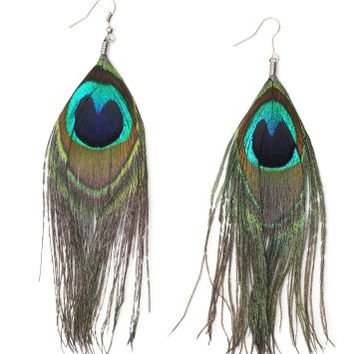 Dangling Peacock Feather Earrings Art Deco Statement EA35 Fashion Jewelry