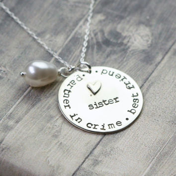 Hand stamped sister necklace, jewelry for sister, sister necklace, sibling, sister, best friend, gift for sister