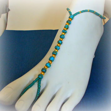 Slave Anklet Turquoise Blue Czech Picasso Beads Barefoot Sandal Beaded One Size Fits All / Beach Gypsy Jewelry