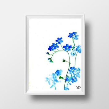 forget me not watercolor flower painting wall art print poster decor home decal print neutral blue floral art poster large small 4x6 24x36