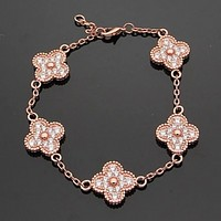 Van Cleef & Arpels New fashion more diamond four-leaf clover bracelet women jewelry Rose Gold