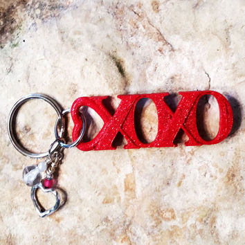Glitter Key Chain, Valentine KeyChain, Heart Key chain, 3D Printed Key Chain, Red Heart Key Chain, Cool Key Chain, Key Chain. Keychain