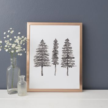 Modern Minimalist Black + White Pine Tree Trio Wall Art Print